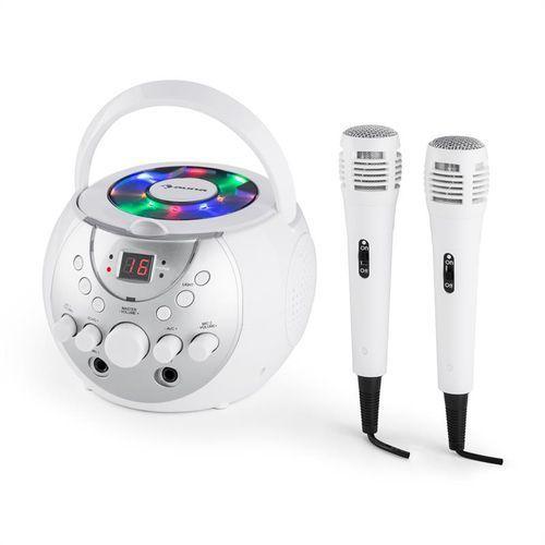 singsing przenośny zestaw karaoke led zasilanie bateryjne 2 x mikrofon kolor biały marki Auna