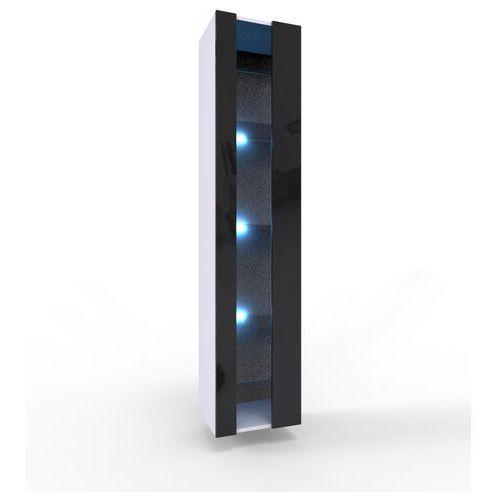 VIGO NEW biało czarna - szafka ze szklanymi półkami + LED