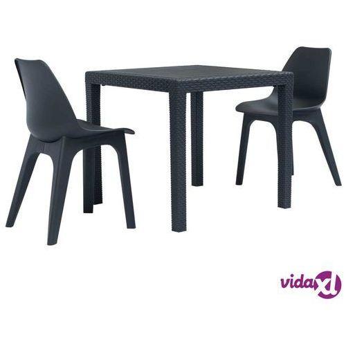 vidaXL 3-częściowy zestaw mebli bistro, plastik, antracytowy, vidaxl_276115