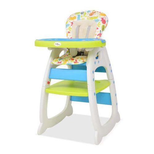 Vidaxl krzesełko do karmienia 3w1 ze stolikiem, niebieski i zielony