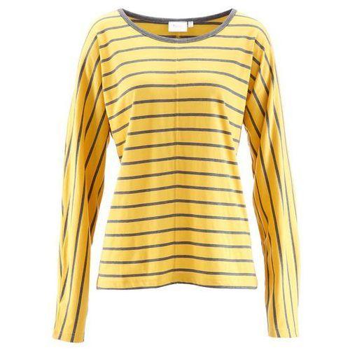 Bonprix Shirt z długim rękawem  żółty tulipan - szary melanż w paski