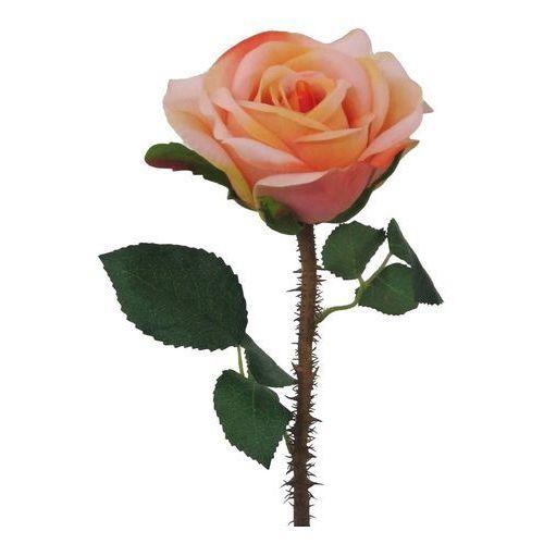 4home Sztuczny kwiat kwitnąca róża z kolcami pomarańczowo-różowy, 38 cm