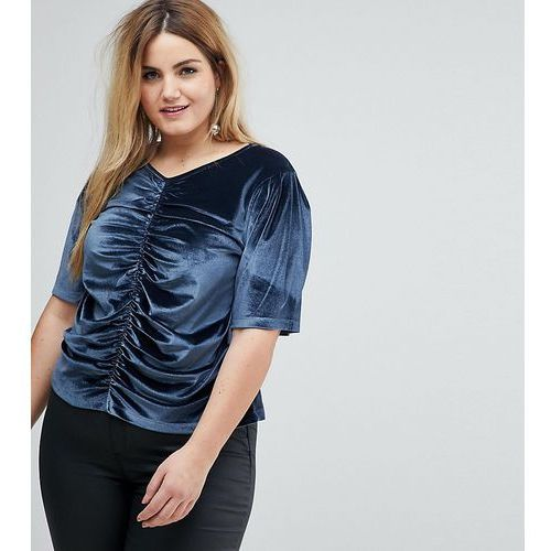 t-shirt in velvet with ruching and puff sleeve - grey marki Asos curve