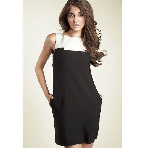 Czarna Kobieca Dwubarwna Prosta Sukienka, kolor czarny