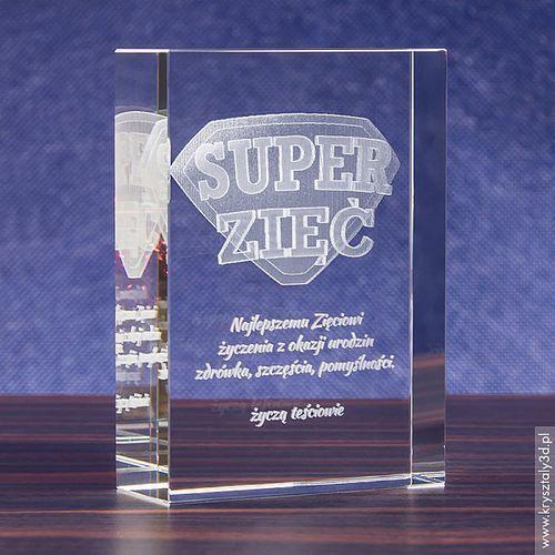 Odznaka 3D »Super Zięć« • personalizowany kryształ 3D • GRAWER 3D
