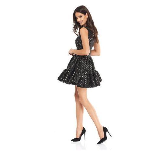 Sukienka Doll czarna w złote kropki, kolor czarny