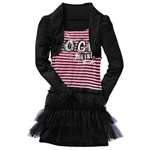 Sukienka bonprix czarno-matowy jasnoróżowy w paski (sukienka dziecięca)