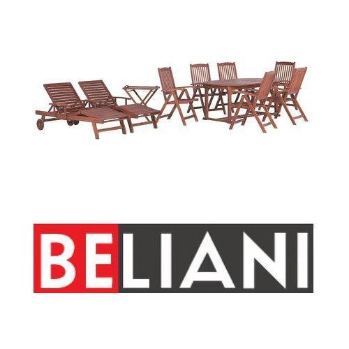 Meble ogrodowe - stół rozkładany, 6 krzeseł, 2 leżanki, 1 stolik - toscana marki Beliani