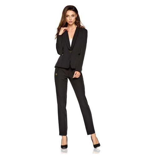 Czarne Eleganckie Spodnie Garniturowe z Prostymi Nogawkami