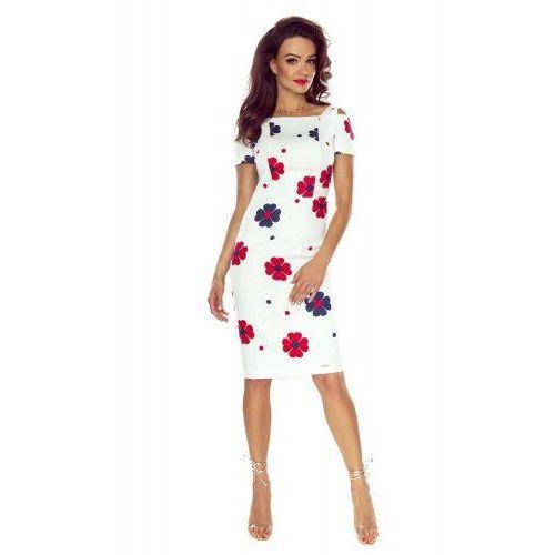 a461360b72 85-06 Roxi wygodna sukienka dzienna (BIAŁA W CZERWONE KWIATY)