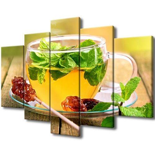Obraz na Płótnie Herbatka miętowa cukier trzcinowy