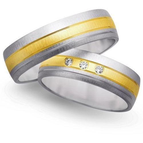 Obrączki z żółtego i białego złota 6mm - O2K/045 - produkt dostępny w Świat Złota