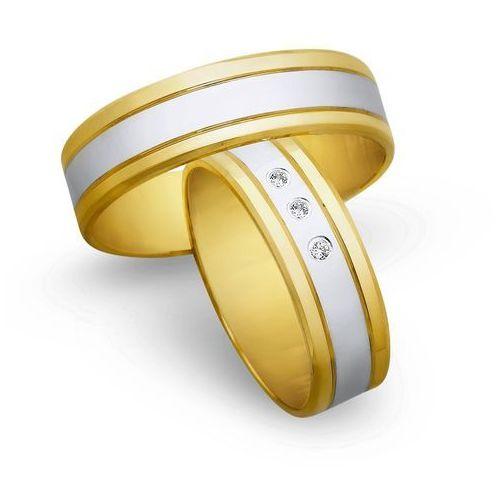 Świat złota Obrączki ślubne z żółtego i białego złota 6mm - o2k/083, kategoria: obrączki ślubne