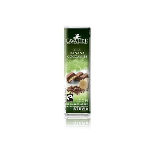 Baton z czekolady mlecznej z nadzieniem bananowym i palonymi ziarnami kakaowca