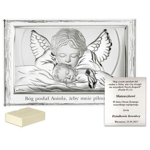 Murrano Obrazek srebrny anioł stróż na chrzest grawer pr478