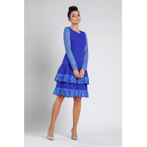 fa04949248 Kobaltowa wizytowa sukienka z obniżonym stanem z koronką