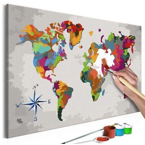 Artgeist Obraz do samodzielnego malowania - mapa świata (z różą wiatrów)