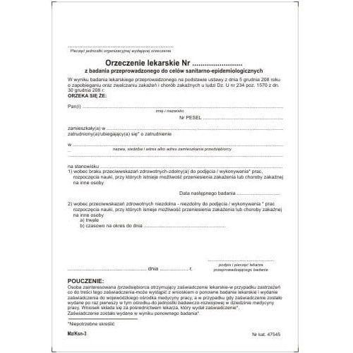 ORZECZENIE lekarskie do celów sanitarno-epidemiologicznych [Pu/Ksn-3], 47545