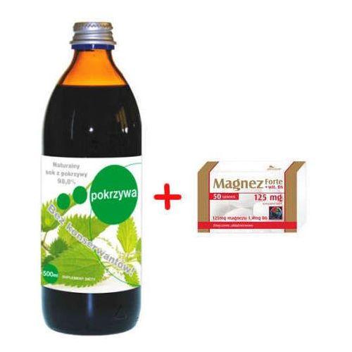 Pokrzywa sok bez konserwantów z witaminą c 500ml + magnez forte + wit.b6 x 50 tabletek gratis! marki Donum naturea ii s.c.