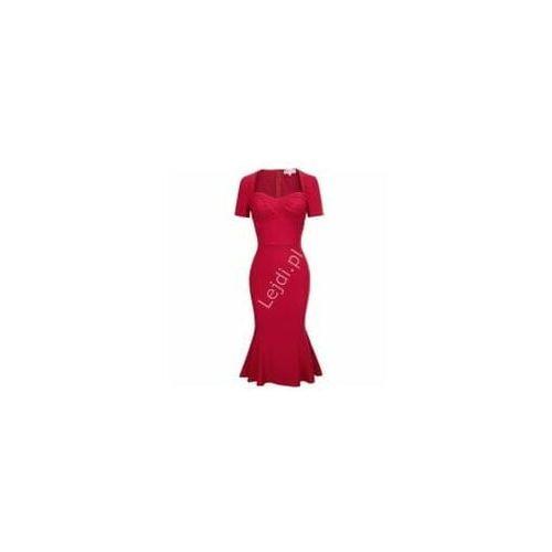 Elegancka czerwona sukienka midi tulipan, 524 marki Promkiexclusive
