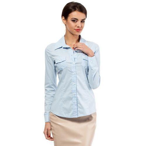 Błękitna klasyczna taliowana koszula z długim rękawem, Moe, 36-44