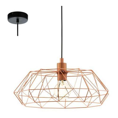 Eglo Industrialna lampa wisząca carlton 2 49488 druciana oprawa metalowy zwis newton ip20 drut miedziany (9002759494889)