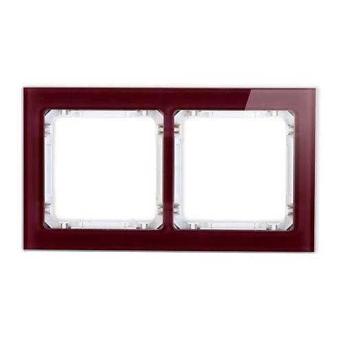 Ramka podwójna Karlik Deco 14-0-DRS-2 efekt szkła spód biały ramka bordowa (5901832002673)