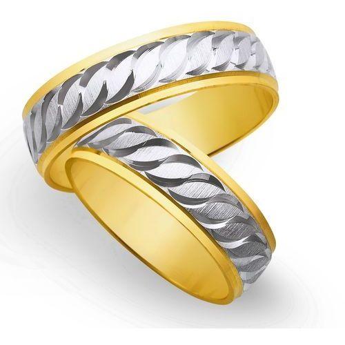 Obrączki z żółtego i białego złota 6mm - O2K/047 - produkt dostępny w Świat Złota