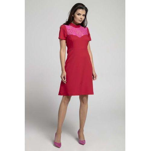 fab1e4b86d Czerwona Wizytowa Rozkloszowana Sukienka z Koronką