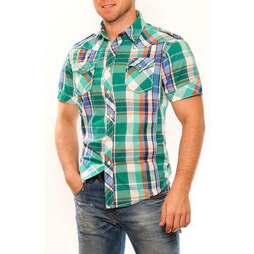 3325-2 Męska koszula na krótki rękaw w kratkę - zielony