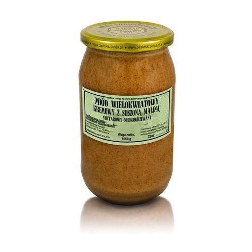 Miód wielokwiatowy kremowy z suszoną maliną 1050 g marki Pasieka z pasją hawran paweł