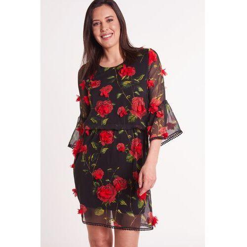 c36d99e4a Czarna sukienka w kwiaty, 1 rozmiar 200,00 zł błyskotliwa sukienka w  odcieniu czarnym we wzór czerwonych róży, na nich umieszczone przyszyte  kwiaty.
