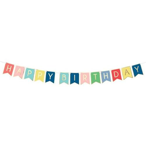 Baner kolorowy z napisem happy birthday - 175 cm - 1 szt. marki Party deco
