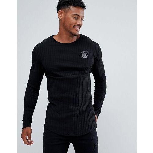SikSilk long sleeve t-shirt in black rib - Black