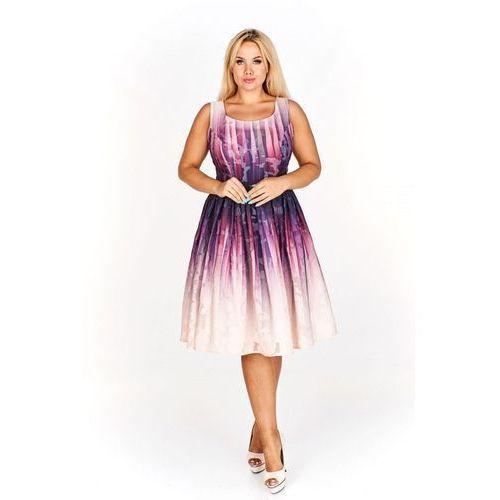 Kolorowa Rozkloszowana sukienka do kolan na wesele (2502356001499)