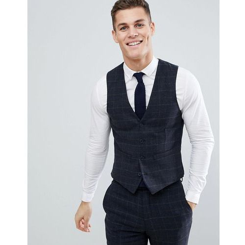 brushed flannel slim fit tobacco check waistcoat - blue marki French connection