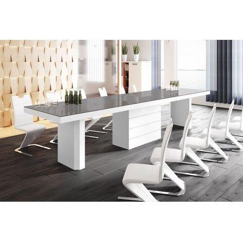 Hubertus design Stół rozkładany kolos 160 szaro-biały wysoki połysk