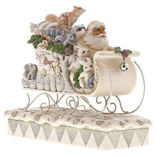 Biały Mikołaj w saniach z prezentami Sleigh Ride Season (White Woodland Santa in Sleigh) 6001410 Jim Shore figurka ozdoba świąteczna