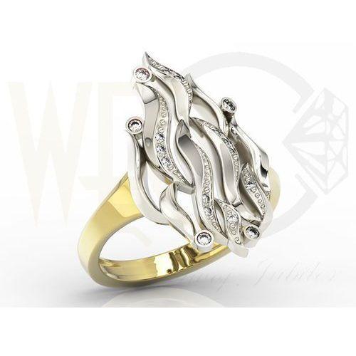 """Pierścionek """"płomień"""" z żółtego i białego złota z diamentami model AP-5711ZB"""