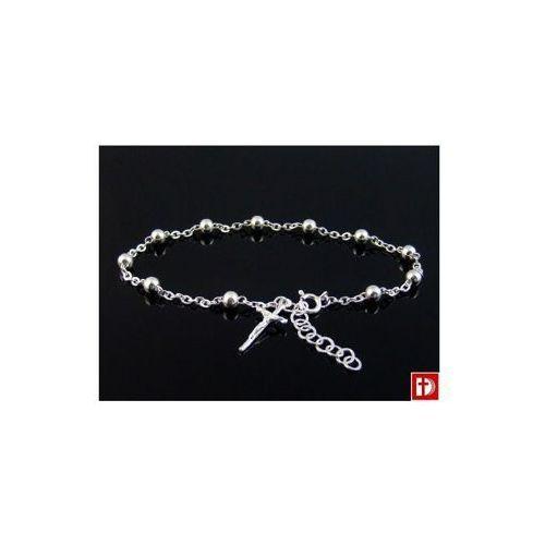 Bransoletka - różaniec, srebrna - z krzyżykiem
