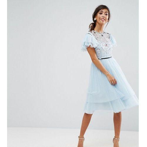 pretty embellished tulle mini dress - grey marki Asos petite