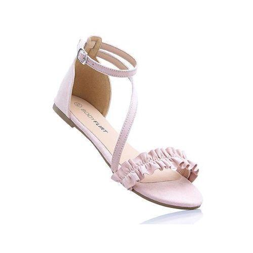 Sandały z falbanką stary róż, Bonprix, 36-42