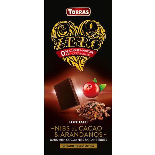Czekolada gorzka z ziarnami kakao i żurawiną BezCukru 125g TORRAS (8410342004994)