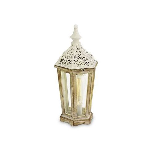 Eglo Stojąca lampka stołowa kinghorn 49278 metalowa oprawa latarnia biała (9002759492786)