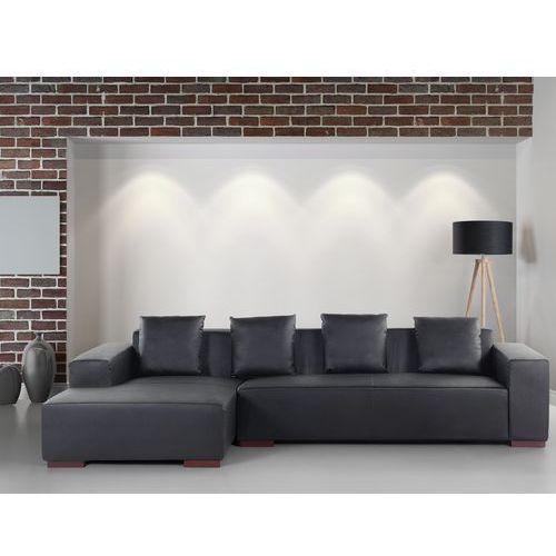 Sofa narożna r – głęboka czerń - skórzana – drewniane nóżki - narożnik - lungo marki Beliani