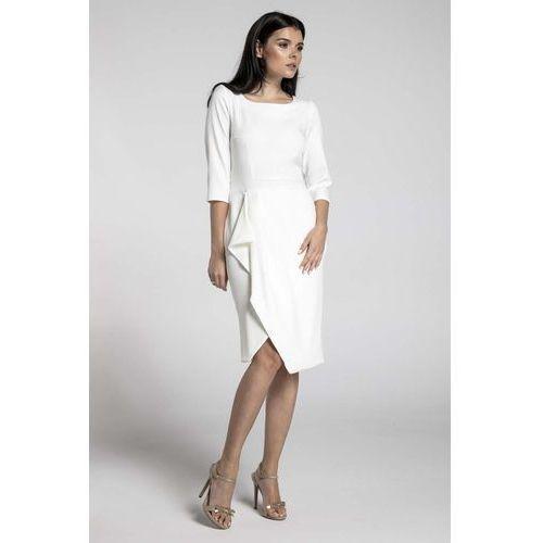 fa1f3503e1 Ecru elegancka sukienka z zakładanym dołem marki Nommo 149