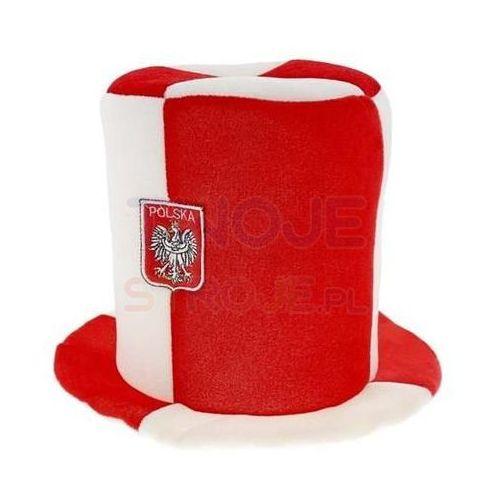 Twojestroje.pl Cylinder kibica biało-czerwony z godłem (5901238697442)
