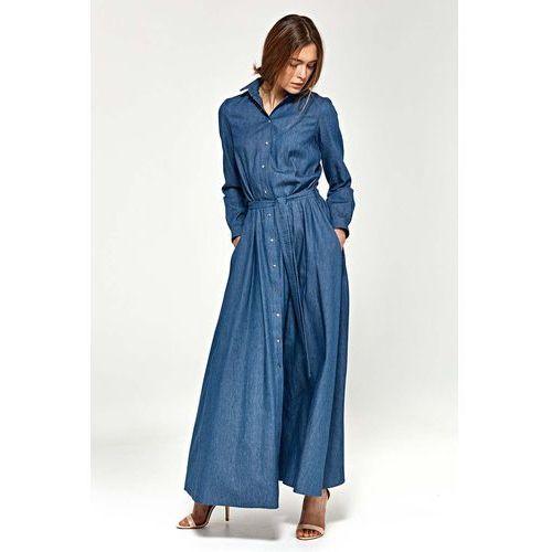 Jeansowa Koszulowa Sukienka Maxi z Długim Rękawem