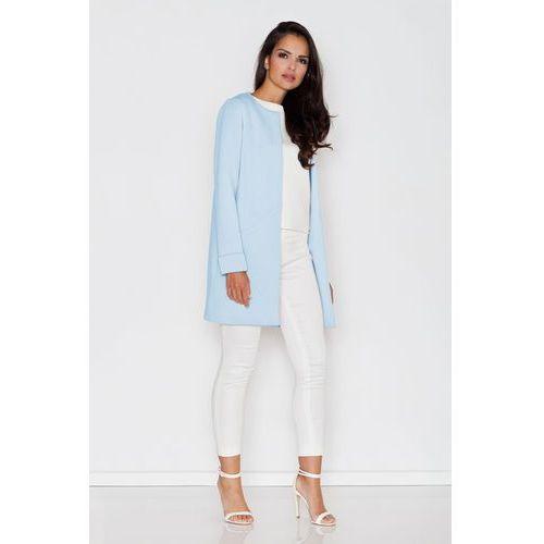 Figl Niebieski prosty pastelowy płaszcz bez zapięcia