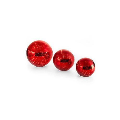 Bonprix Kule szklane lustrzane led (3 części) czerwony